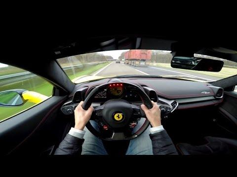 pov drive ferrari 458 italia 290 kmh on the autobahn - Ferrari Italia 458