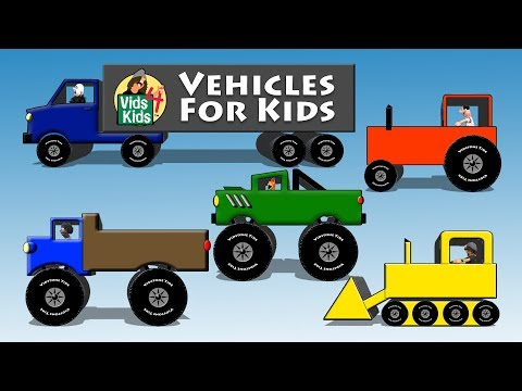 Vehicles For Kids - Trucks Tractors Cars Bulldozers Bus
