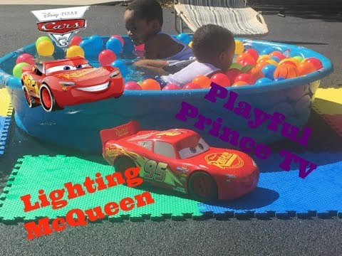 disney cars 3 toys lighting mcqueen kids swimming pool with ball pit colorful balls youtube