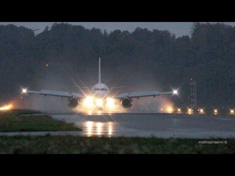 Germania Airbus A319 Landing at Airport Bern-Belp - Reverse Thrust Spray