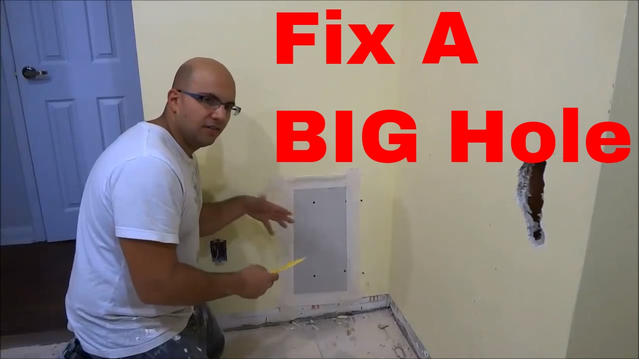 how to fix a big hole in the wall youtube. Black Bedroom Furniture Sets. Home Design Ideas