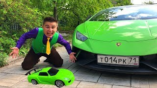 Mr. Joe washed Toy Car & He Turned in Car Keys of Sport Car Lamborghini Huracan for Children