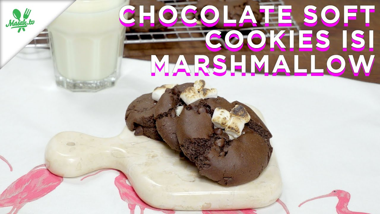 Resep Chocolate Soft Cookies isi Marshmellow