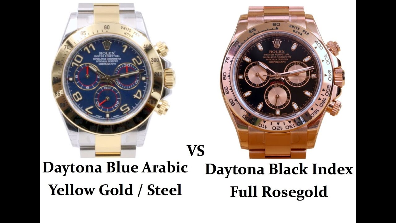 Rolex Daytona TwoTone yellow goldsteel blue vs full RoseGold