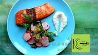 Salmon With Pickled Radish, Cucumber Salad And Wasabi-ginger Mayo