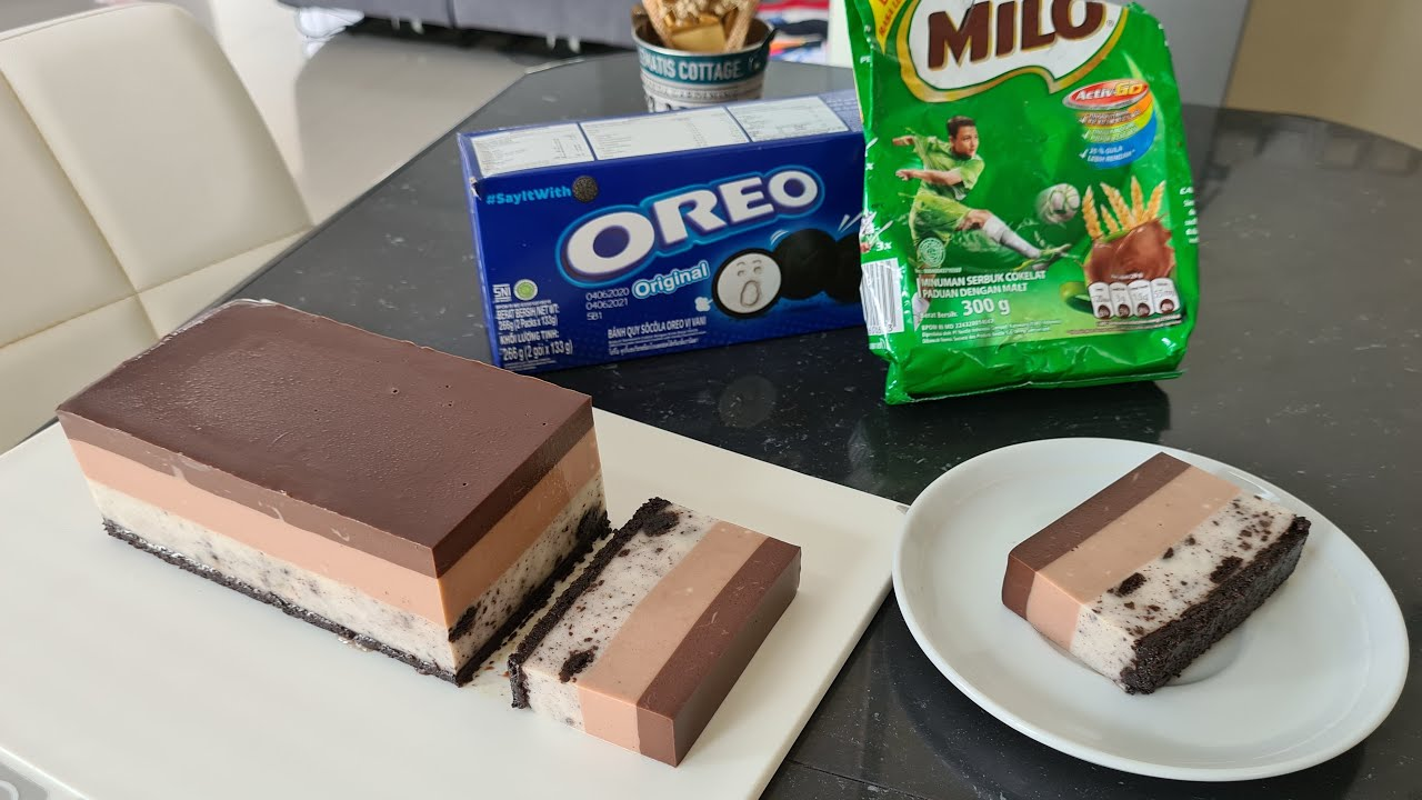 Puding Lapis Coklat Oreo Milo Chocolate Oreo Milo Layered Pudding Youtube