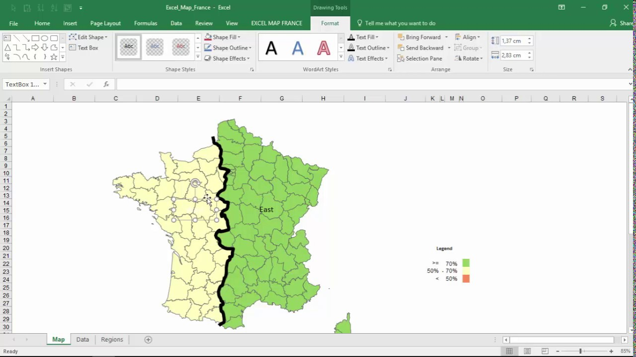 How to show regional results on custom regions of Excel Map France?