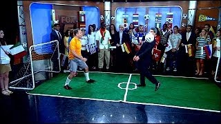 Greg Kelly hits Claudio Reyna in face with soccer ball