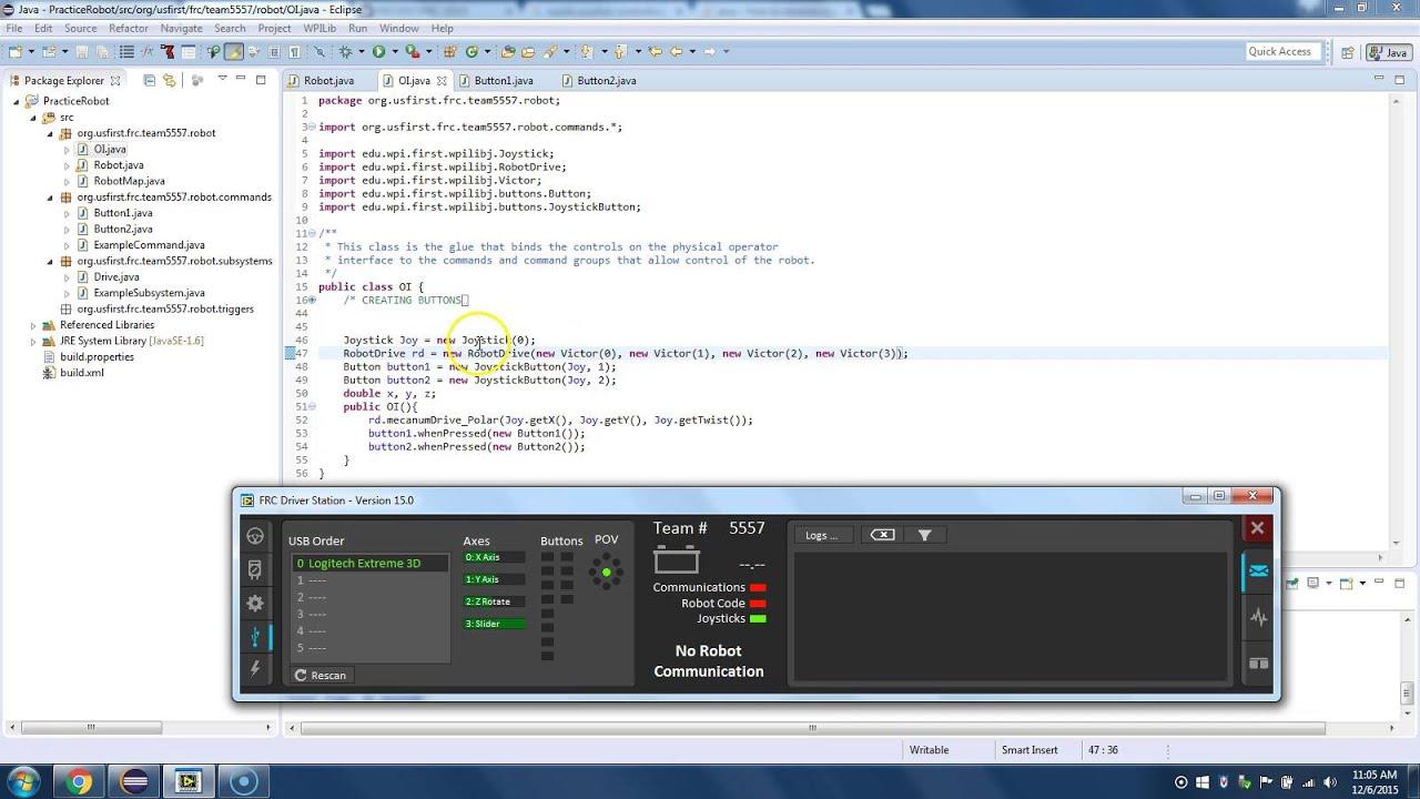 FRC#5557 Programming - Joystick Control and Command Programming