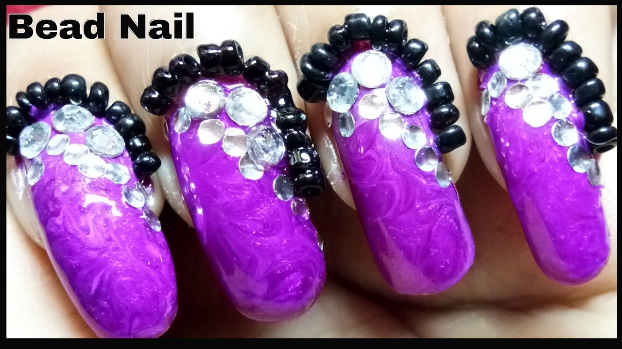 Nails Design With Bead And Stone How To Put Caviar Beads On Nails