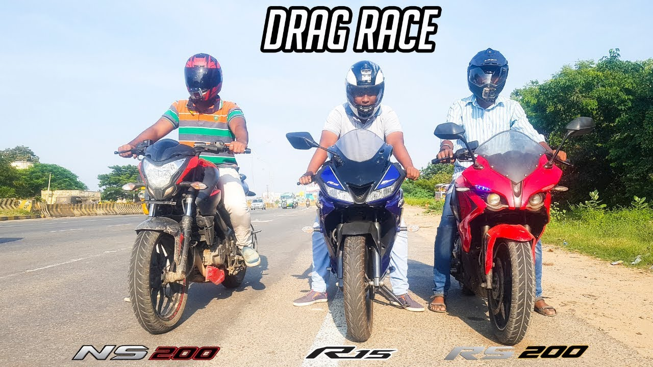 R15 v3 vs rs 200 vs ns 200 epic drag race highway battle
