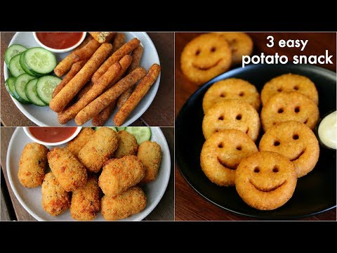 3 easy potato snacks recipe for kids | potato fingers, potato nuggets, potato smiley recipe