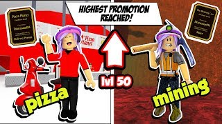 PIZZA DELIVERY & MINING JOBS REACHING HIGHEST LEVEL 50 | ROBLOX BLOXBURG
