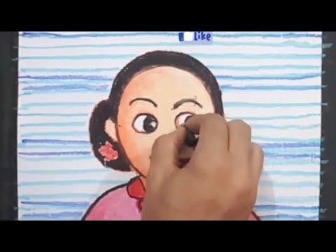 Cara gambar Ibu Kita Kartini an - YouTube