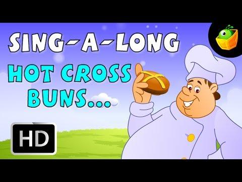 Karaoke: Hot Cross Buns - Songs With Lyrics - Cartoon/Animated Rhymes For Kids
