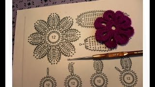 Мотив №8. Цветок на 8 лепестков. Вязание ирландских кружев для начинающих