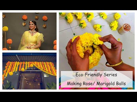 Ecofriendly Series: No-Thermocoal Marigold, Rose balls Pomander