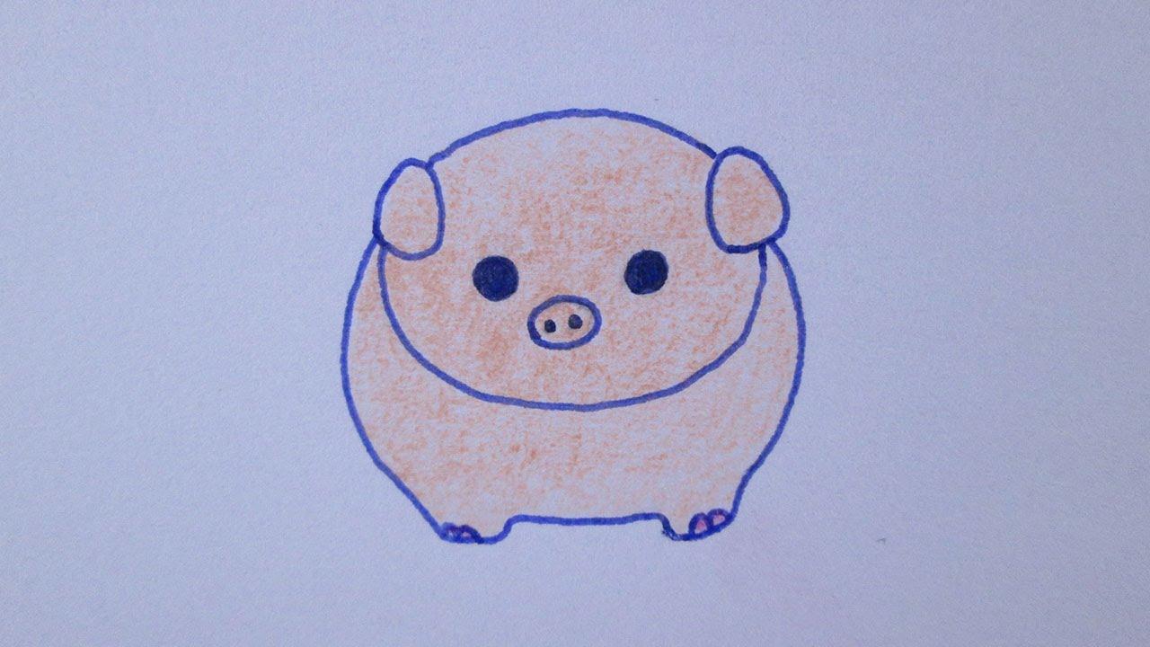 Cómo dibujar un cerdo kawaii - YouTube