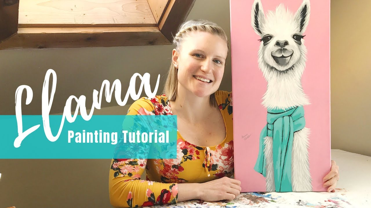 Painting Tutorial Acrylic Llama In 30 Minutes Art Therapy Youtube