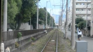 松山市電 鉄砲町→赤十字病院前 前面展望