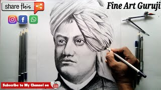 How to draw Swami Vivekananda step by step tutorial for beginners in Hindi !