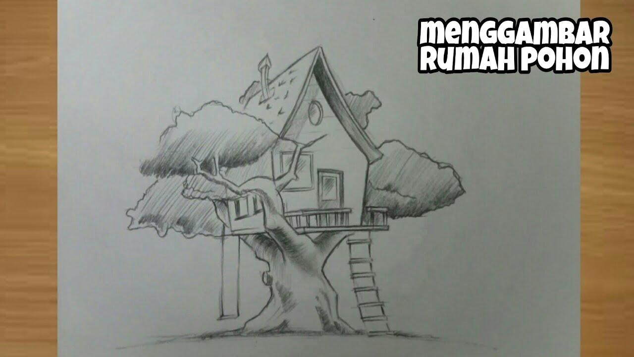 Cara Menggambar Rumah Pohon Dengan Pensil Untuk Edukasi Anak