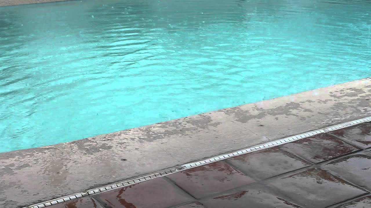 January Rain Storm In High Definition Swimming Pool Youtube