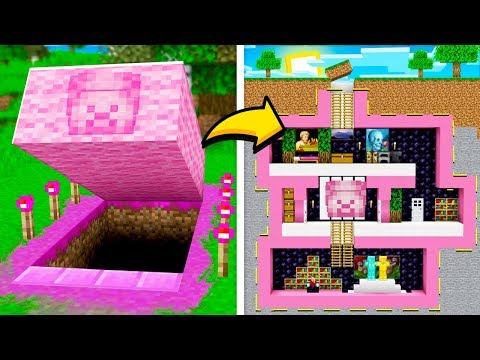 I Found a SECRET Pink Underground Minecraft House... (MCPE Pink Steve)