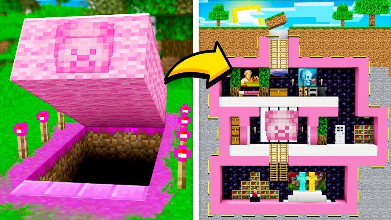I Found A Secret Pink Underground Minecraft House     Mcpe Pink Steve