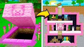 I Found a SECRET Pink Underground Minecraft House... (MCPE Pink Steve)