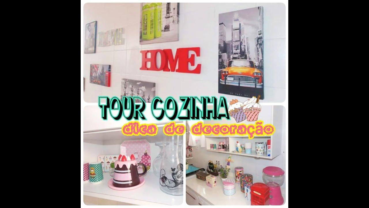 Tour na Cozinha com dica de decoraç u00e3o barata! YouTube # Decoração Cozinha Pequena Barata