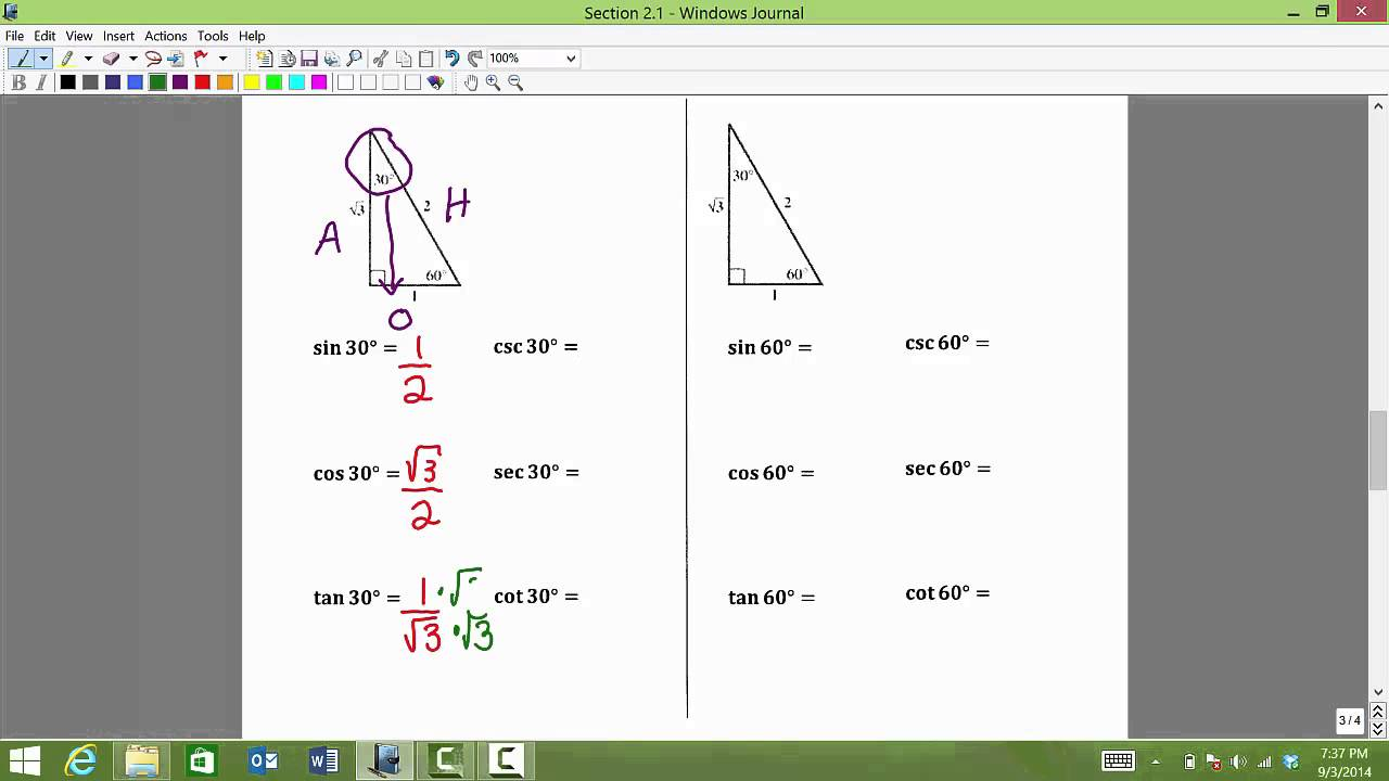 Cot 60 degrees user manuals sin cos tan 45 array math 1316 section 2 1 special triangles and the trig function rh youtube com fandeluxe Images