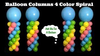 Balloon Columns 4 Color Spiral - Balloon Decoration Tutorial