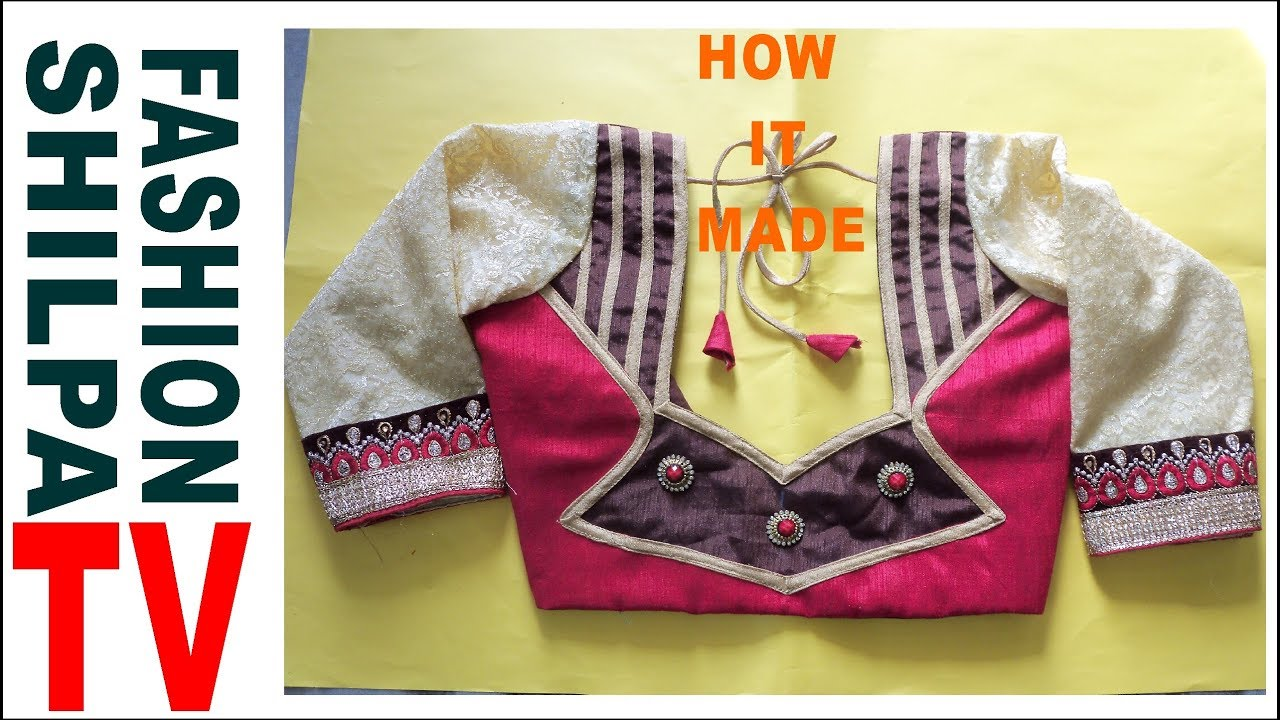 How To Make Designer Blouse At Home 71 Designer Bridal Back Neck Blouse Pattern Cutting Stitching Youtube