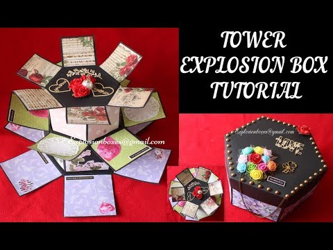 TUTORIAL - Hexagon Tower Explosion Box |Exploding Box|Paper Crafts|DIY|EXPLOSION BOXES