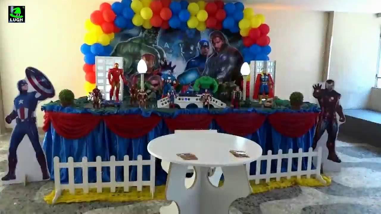 Os Vingadores Decoraç u00e3o de festa com tema para aniversário infantil YouTube -> Decoração De Festa Os Vingadores