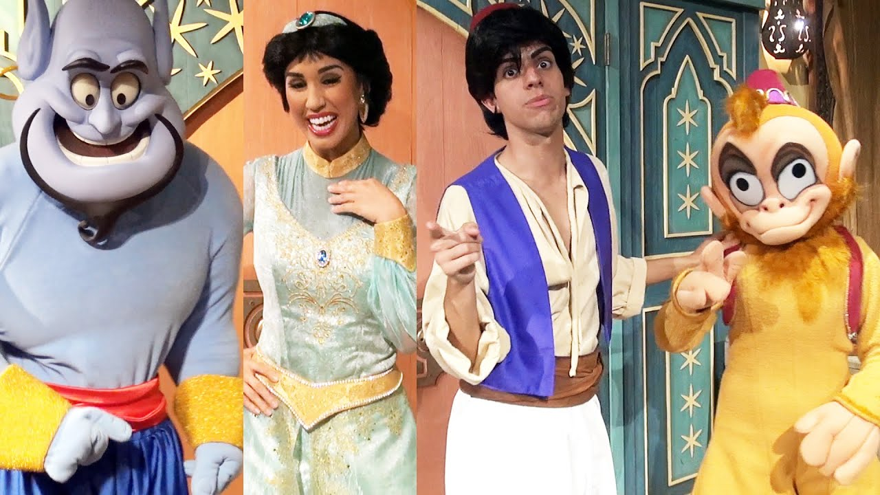 Genie Princess Jasmine Aladdin And Abu Meet At Mickeys Not So