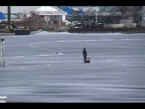 Ice Fishing On Thin Ice Sodus Point NY Snowmobile And 4 Wheelers