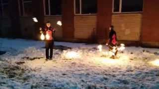 фаер шоу в новогоднюю ночь 2015, Санкт-Петербург, Купчино
