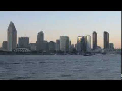 Time Lapse Day To Night San Diego Skyline Harbor Video Views Showing Sunset Evening And NightTime