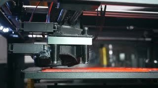 Modern Fast Working 3D Printer In Office Stock Video