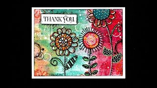 Doodled Flowers Thank You Card