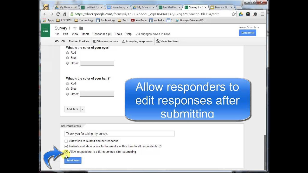 Google Forms Confirmation Page and Send Options - YouTube