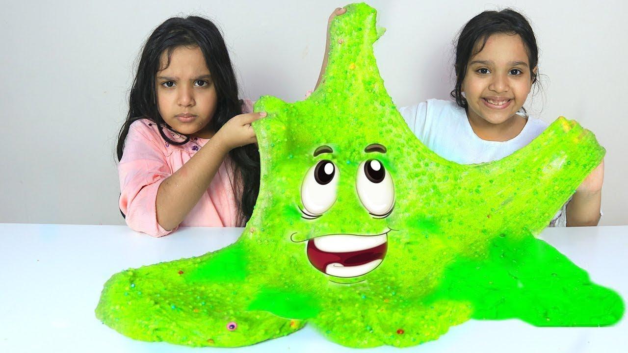 شفا و توأمتها يصنعون سلايم عملاق Shfa And Her Twin Make A Giant Slime Youtube