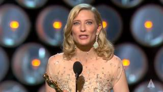 "Cate Blanchett winning Best Actress for ""Blue Jasmine"""