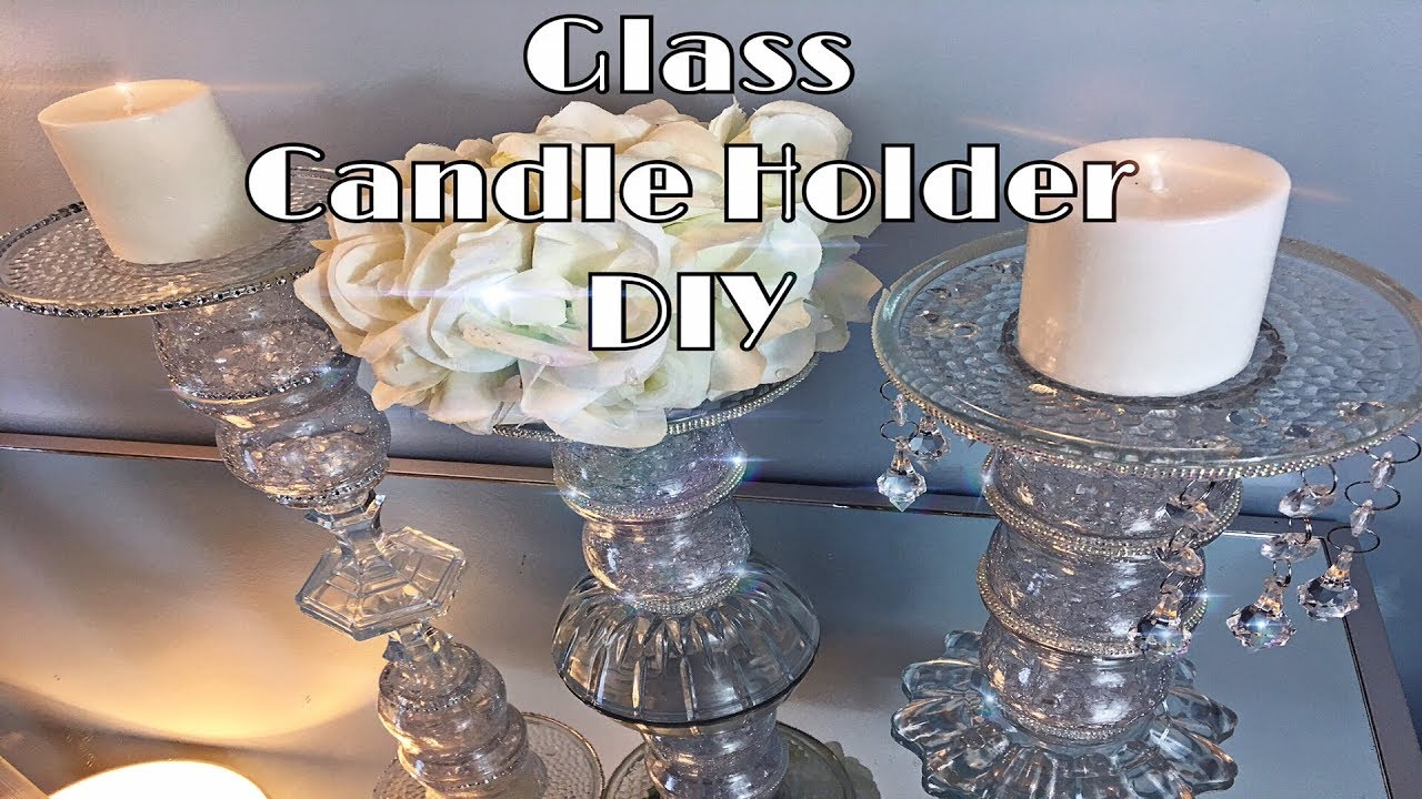 Dollar Tree DIY - Crystal Glass Candle Holder - YouTube