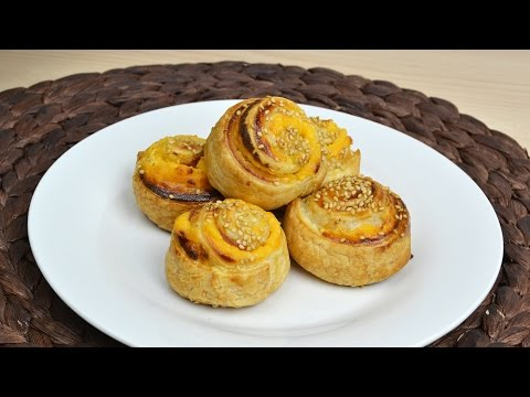 Bacon-Cheddar Pinwheels - Bacon & Cheese Puff Pastry Rolls Recipe