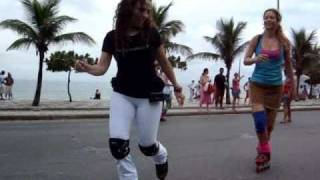 Dancing and skate jamming on inline skates or rollerblades