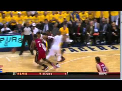 Lebron James , Danny Granger confrontation Pacers-Heat Game 3