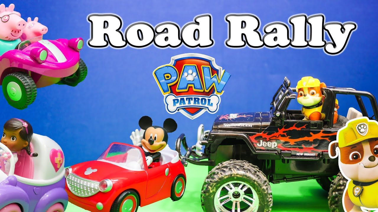 Paw Patrol and Mickey Mouse Road Rally Toys Video Parody - YouTube
